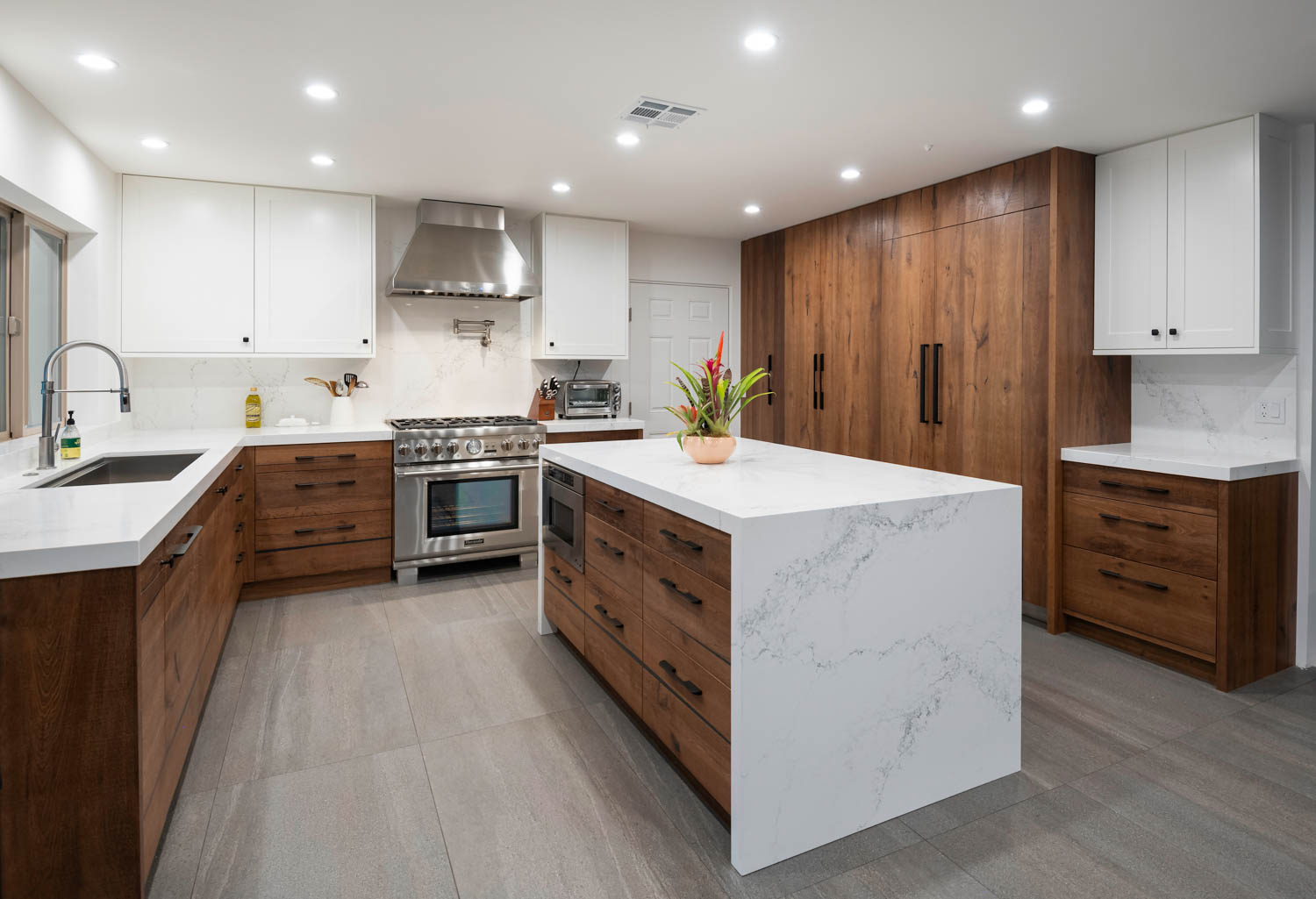 Fitucci Custom Cabinets - Los Angeles - kitchen where everything is built with white marble and custom cabinets